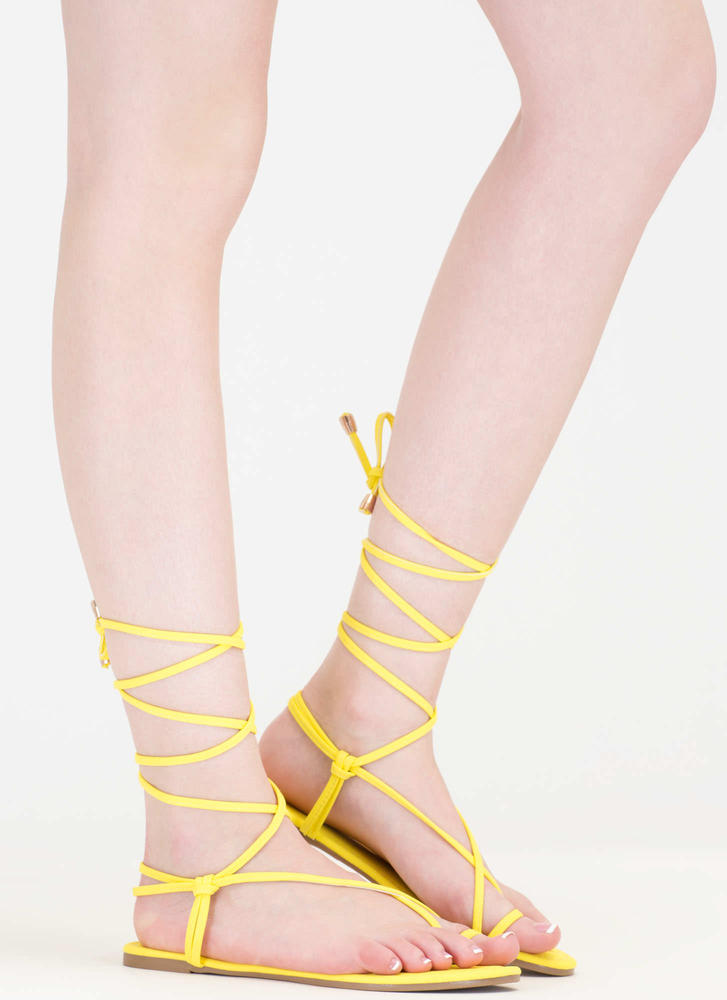 Chic Vacay Faux Nubuck Lace-Up Sandals YELLOW