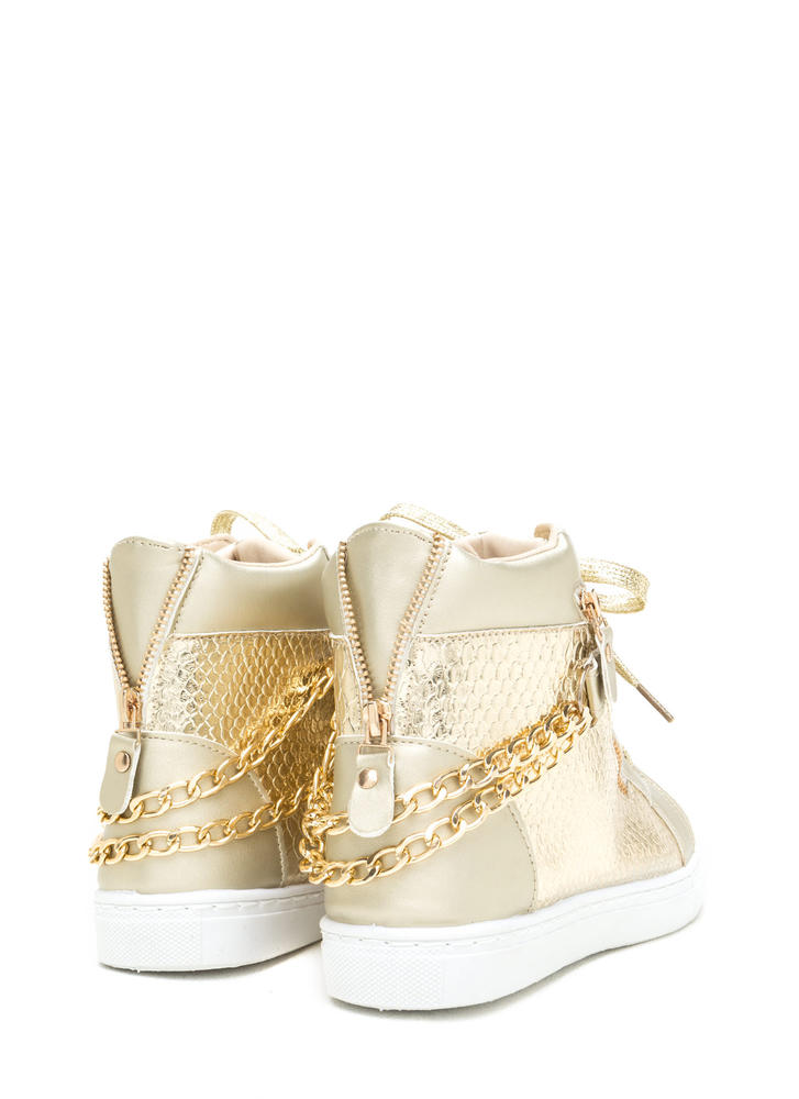 Scale Up Double Chain Metallic Sneakers GOLD