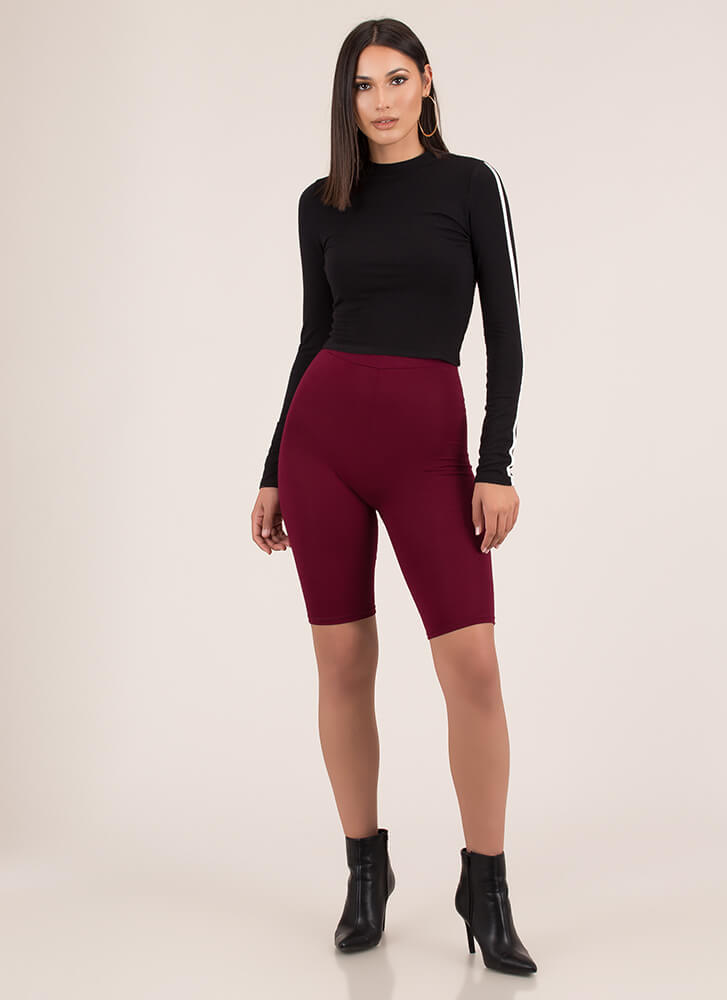 So Long High-Waisted Capri Biker Shorts BURGUNDY (You Saved $6)