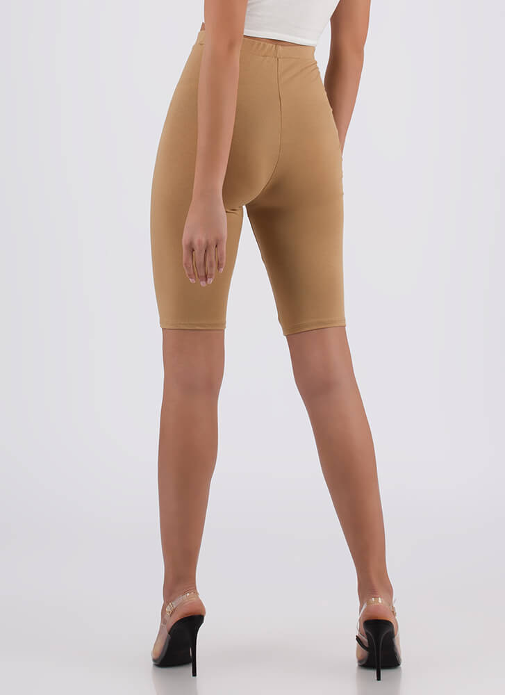 So Long High-Waisted Capri Biker Shorts CAMEL (You Saved $6)