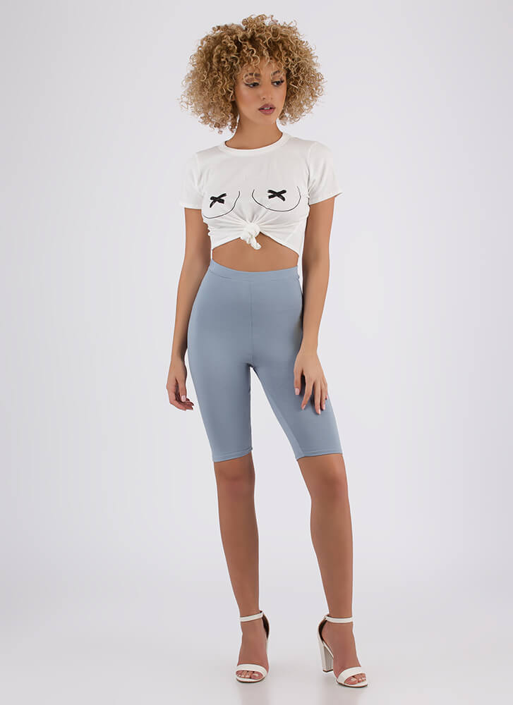 So Long High-Waisted Capri Biker Shorts DUSTYBLUE (You Saved $6)