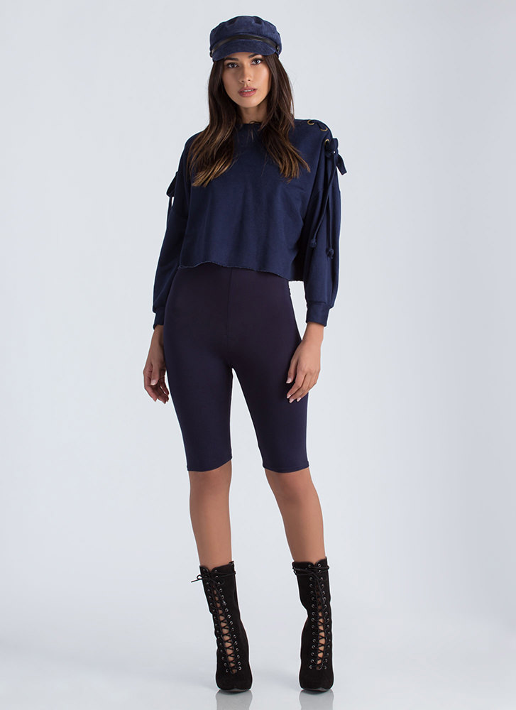 So Long High-Waisted Capri Biker Shorts NAVY (You Saved $6)