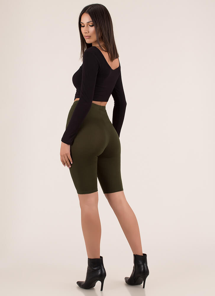 So Long High-Waisted Capri Biker Shorts OLIVE (You Saved $6)