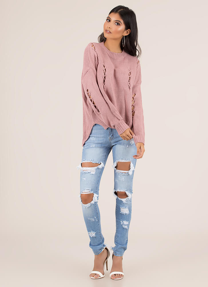 Knit Me A Distressed Dolman Sweater PINK