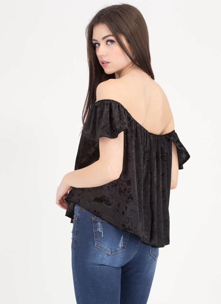Flutter Crushed Velvet Off-Shoulder Top BLACK