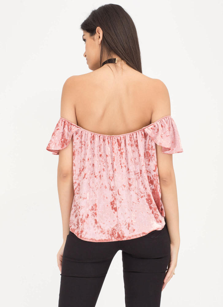 Flutter Crushed Velvet Off-Shoulder Top MAUVE