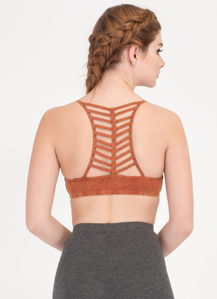 Let's Vent Caged Mineral Wash Bralette RUST (Final Sale)