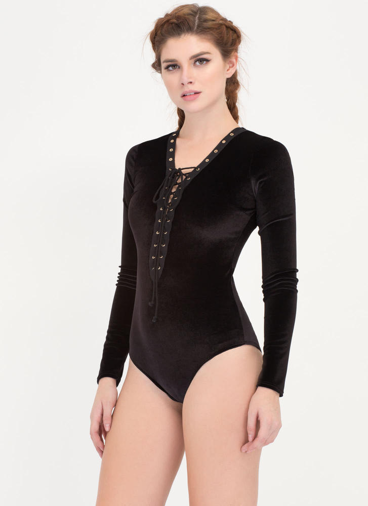 In The Coven Lace-Up Velvet Bodysuit BLACK