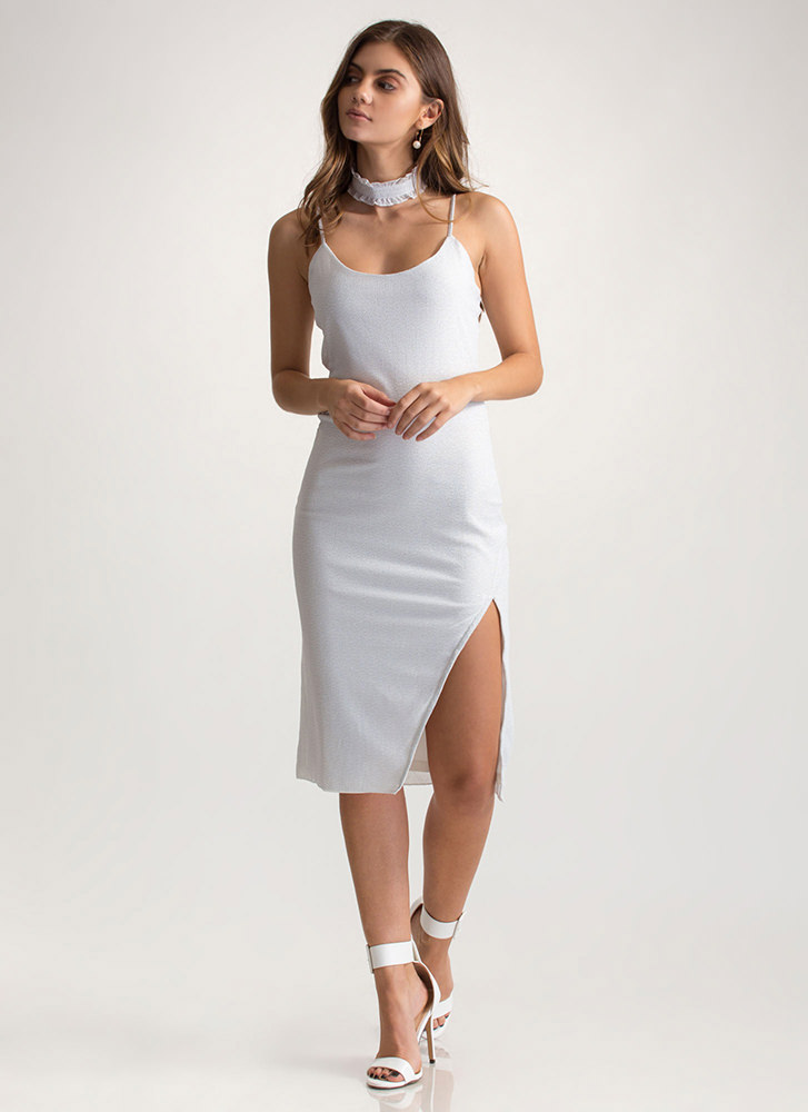 Glow-Getter Metallic Slip Dress WHITE