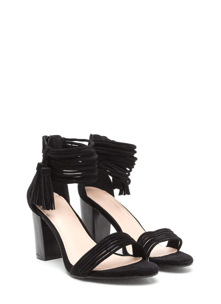 Stacked Strappy Tasseled Chunky Heels BLACK