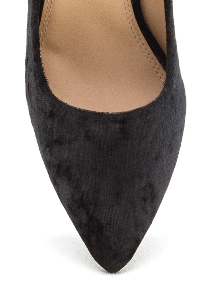 Crushed Competition Velvet Pointy Pumps BLACK