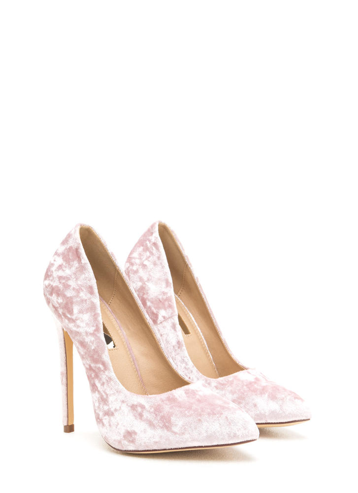 Crushed Competition Velvet Pointy Pumps BLUSH