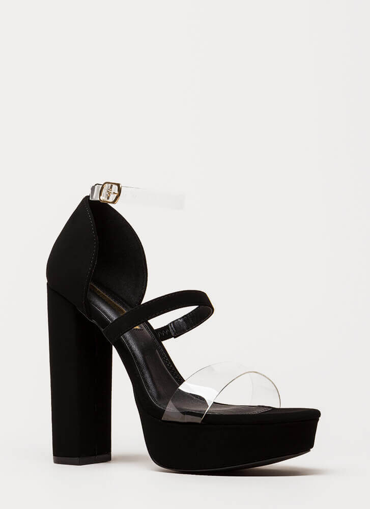 Clear And There Strappy Chunky Heels BLACK