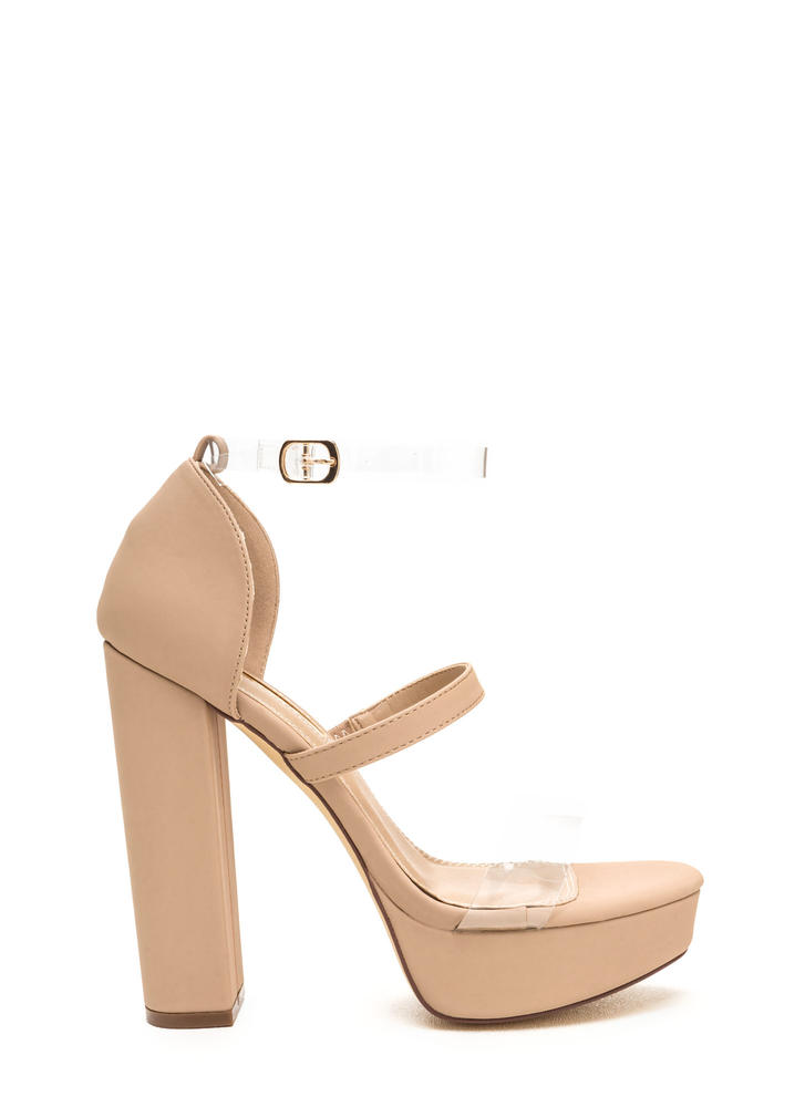 Clear And There Strappy Chunky Heels NUDE RED - GoJane.com