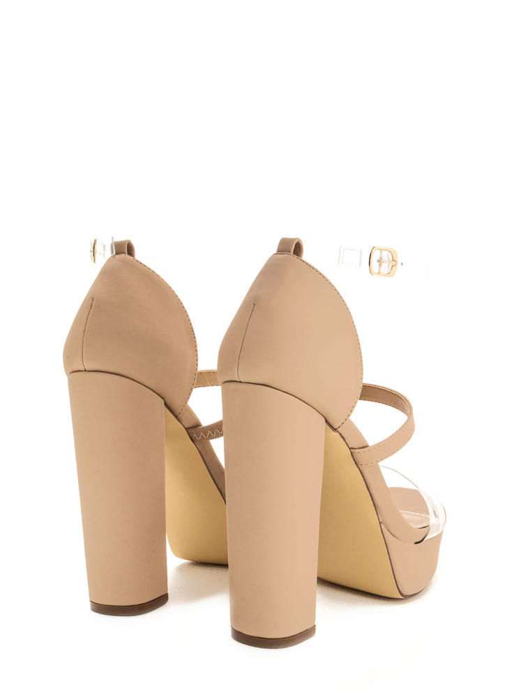 Clear And There Strappy Chunky Heels NUDE