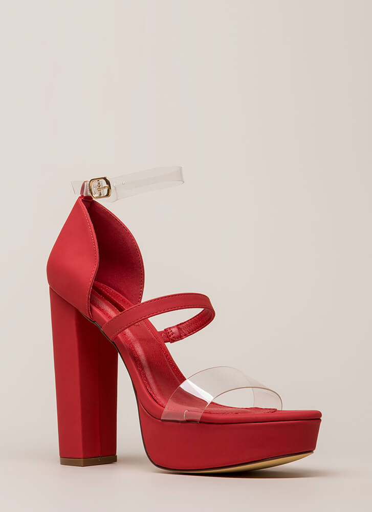 Clear And There Strappy Chunky Heels RED