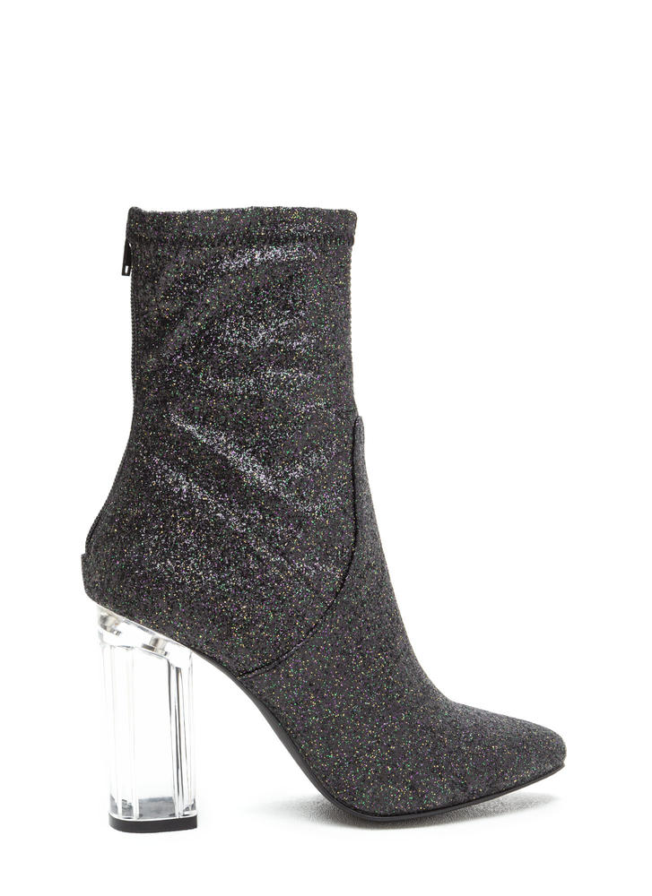 I Sparkle Chunky Lucite Glitter Booties BLACK