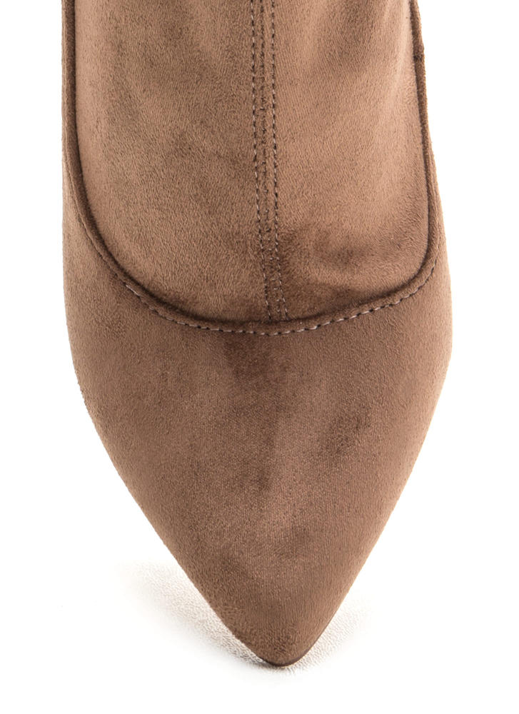 Great Point Chunky Lucite Booties TAUPE