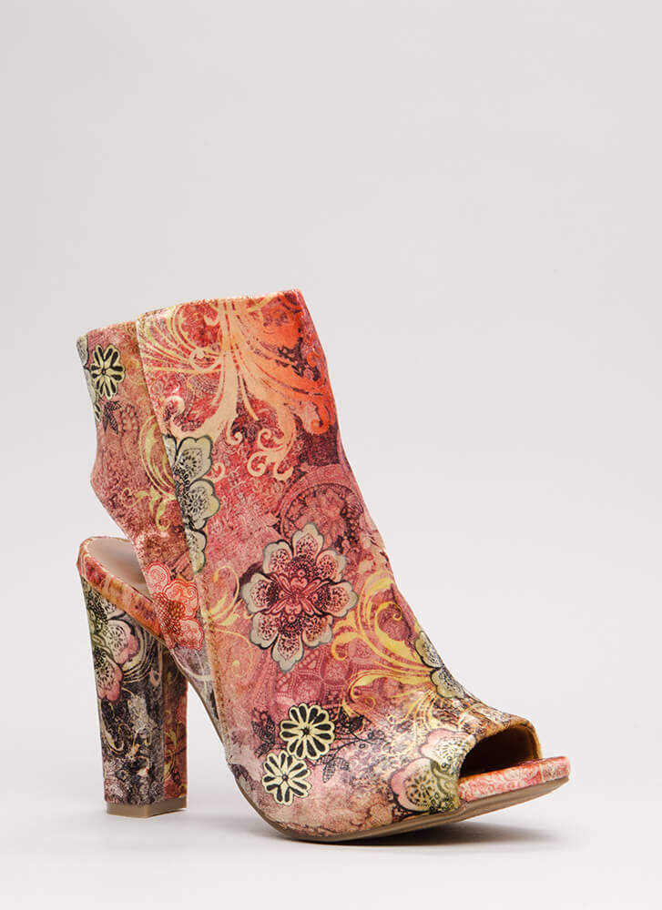 You're Cut Velvet Floral Chunky Heels MAUVEMULTI