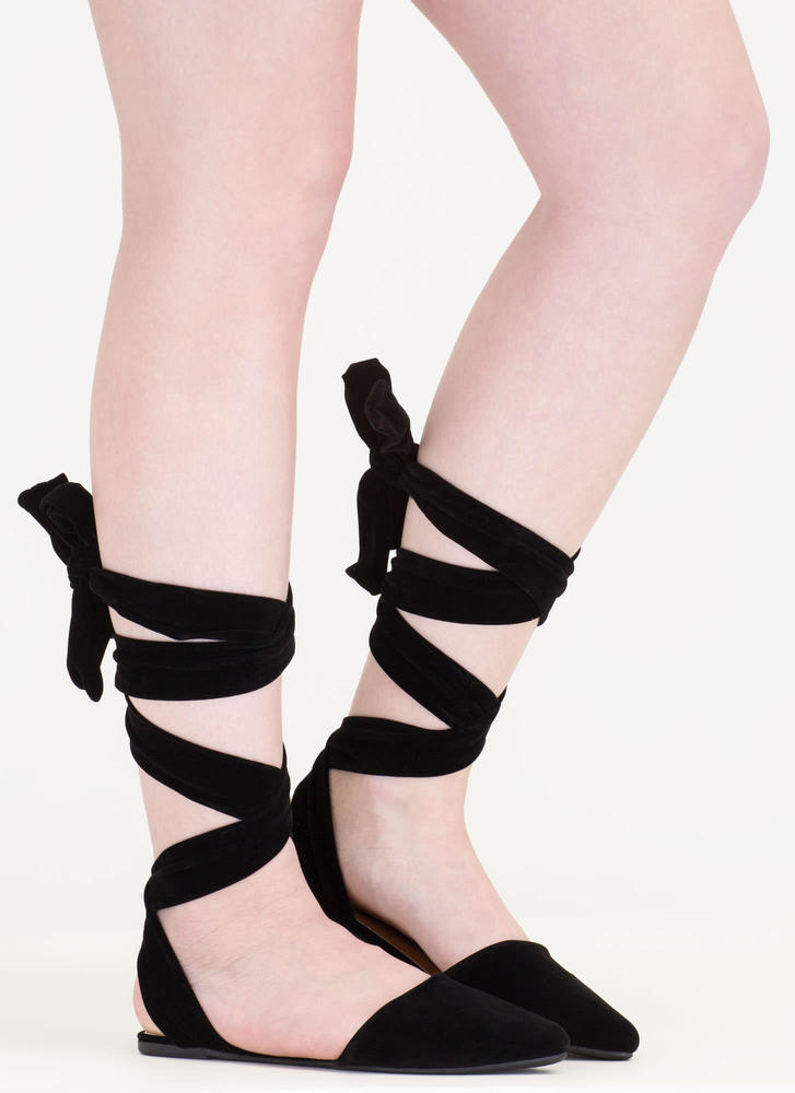 Stage Prep Pointy Lace-Up Flats BLACK