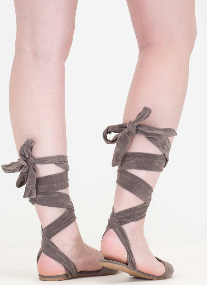 Stage Prep Pointy Lace-Up Flats TAUPE