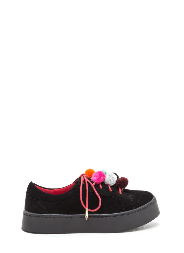 Pom-Pom Parade Lace-Up Sneakers BLACK (Final Sale)