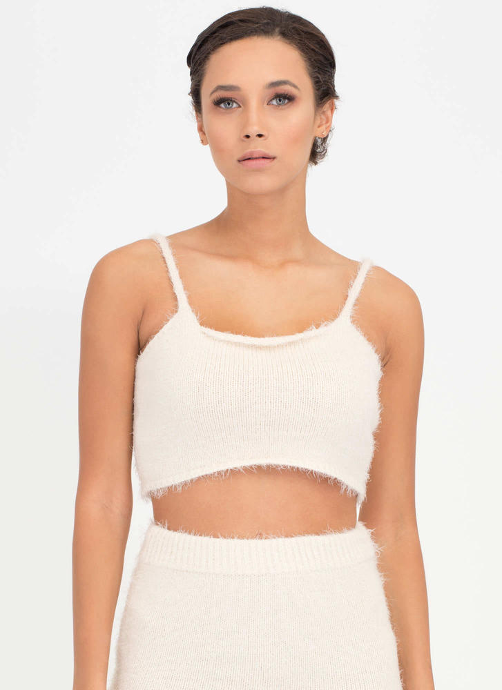 Fuzz Off Knit Crop Tank WHITE