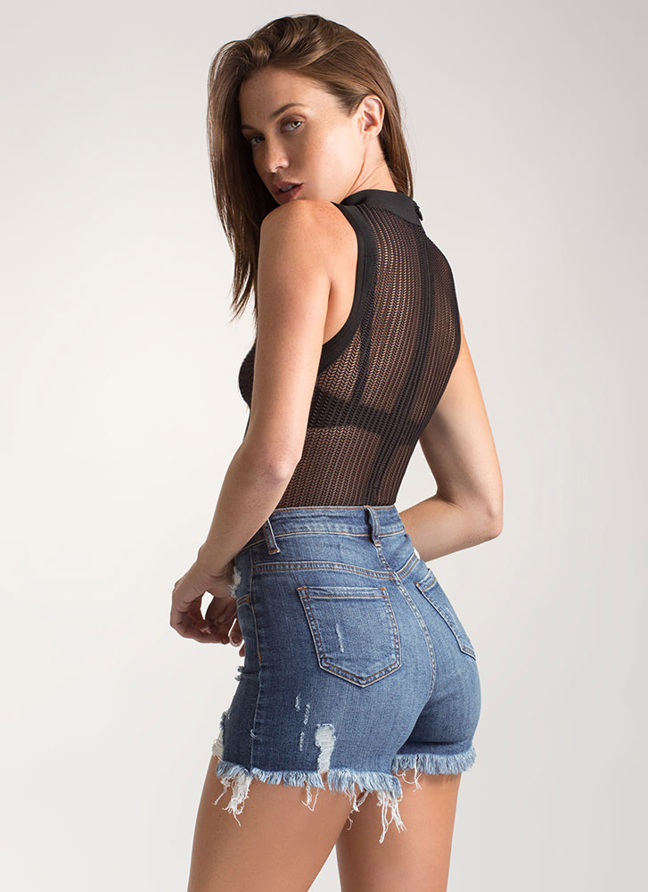 Hit Or Mesh Herringbone Bodysuit BLACK