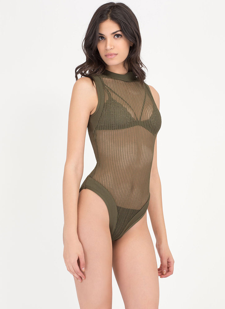 Hit Or Mesh Herringbone Bodysuit OLIVE