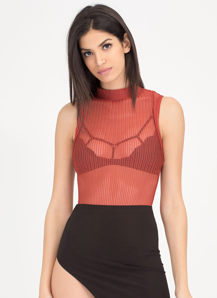 Hit Or Mesh Herringbone Bodysuit RUST