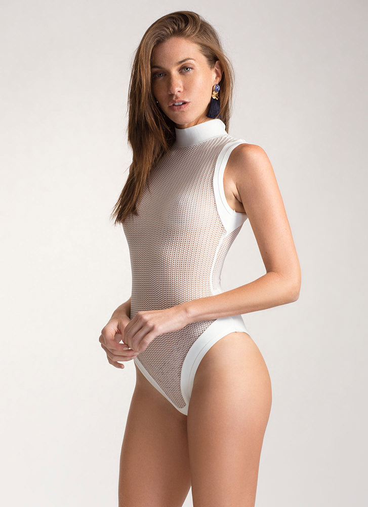Hit Or Mesh Herringbone Bodysuit WHITE