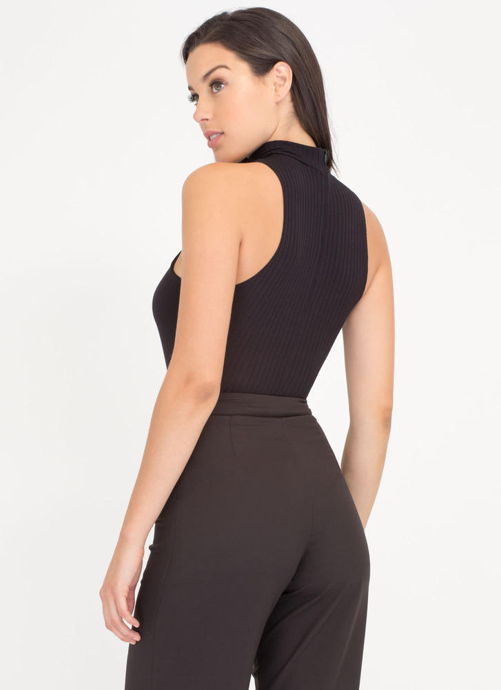 X Sells Paneled Rib Knit Bodysuit BLACK