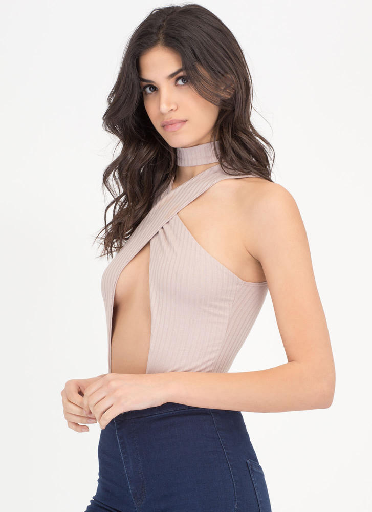 X Sells Paneled Rib Knit Bodysuit COCOA