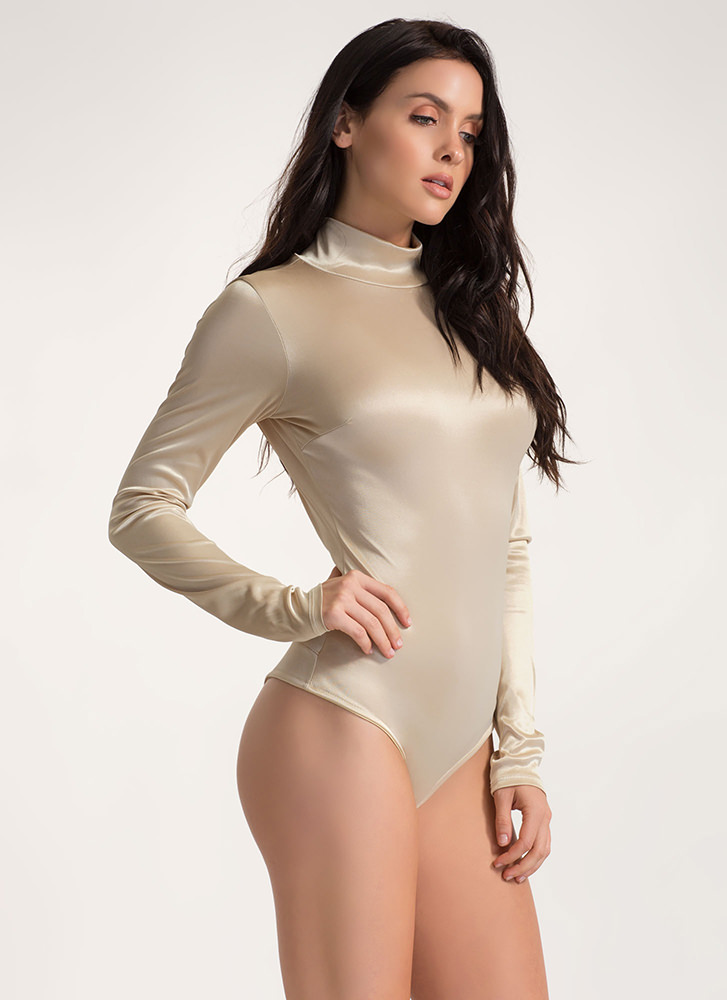 Silky Way Open Back Thong Bodysuit GOLD