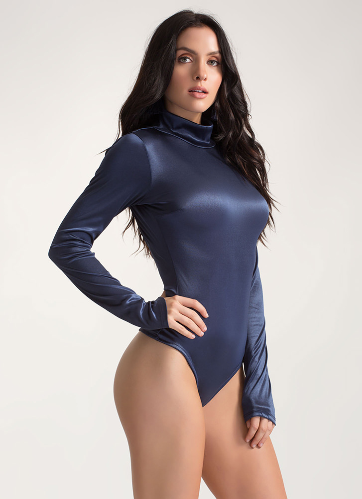 Silky Way Open Back Thong Bodysuit NAVY