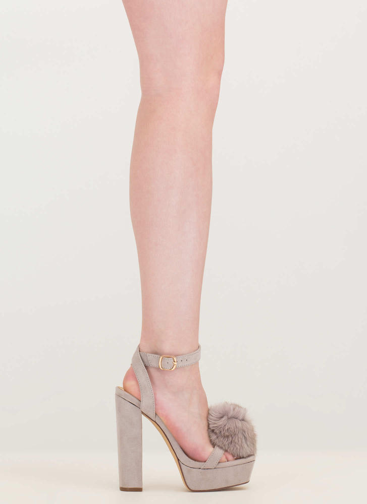 Fur Sure Strappy Pom-Pom Platforms GREY