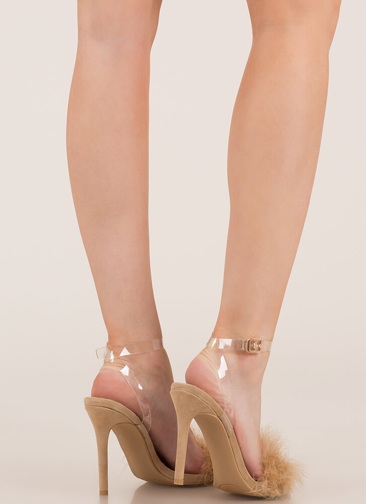 Feather Weather Strappy Stiletto Heels NUDE