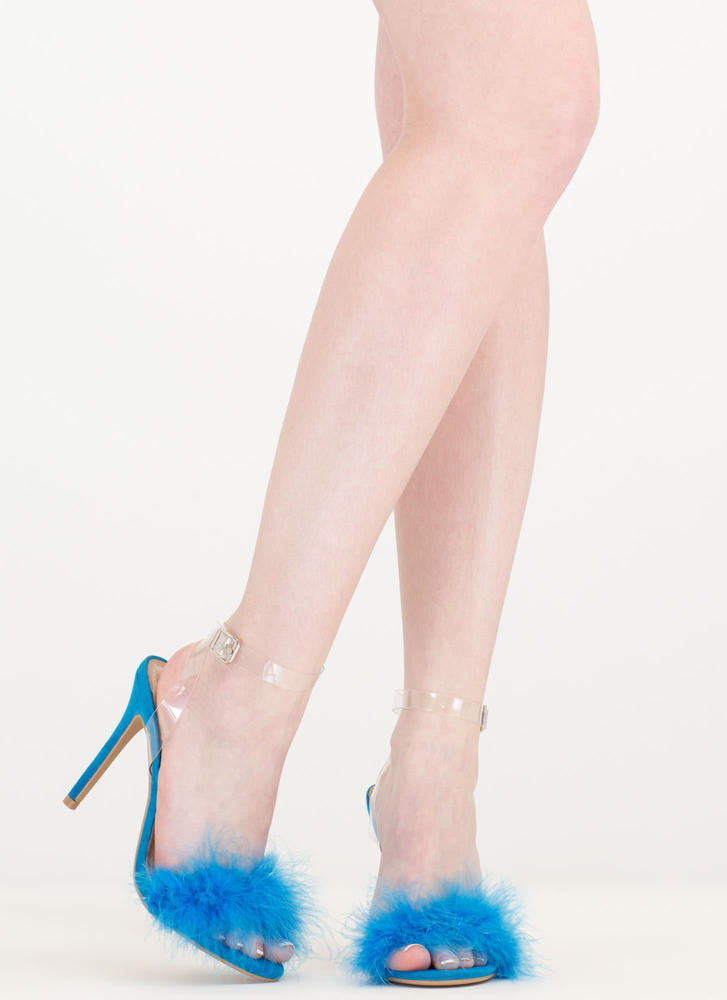 Feather Weather Strappy Stiletto Heels TURQUOISE