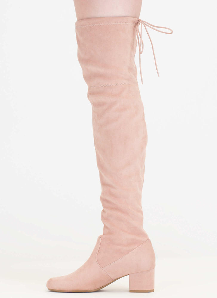 Block Out Tied Thigh-High Boots MAUVE