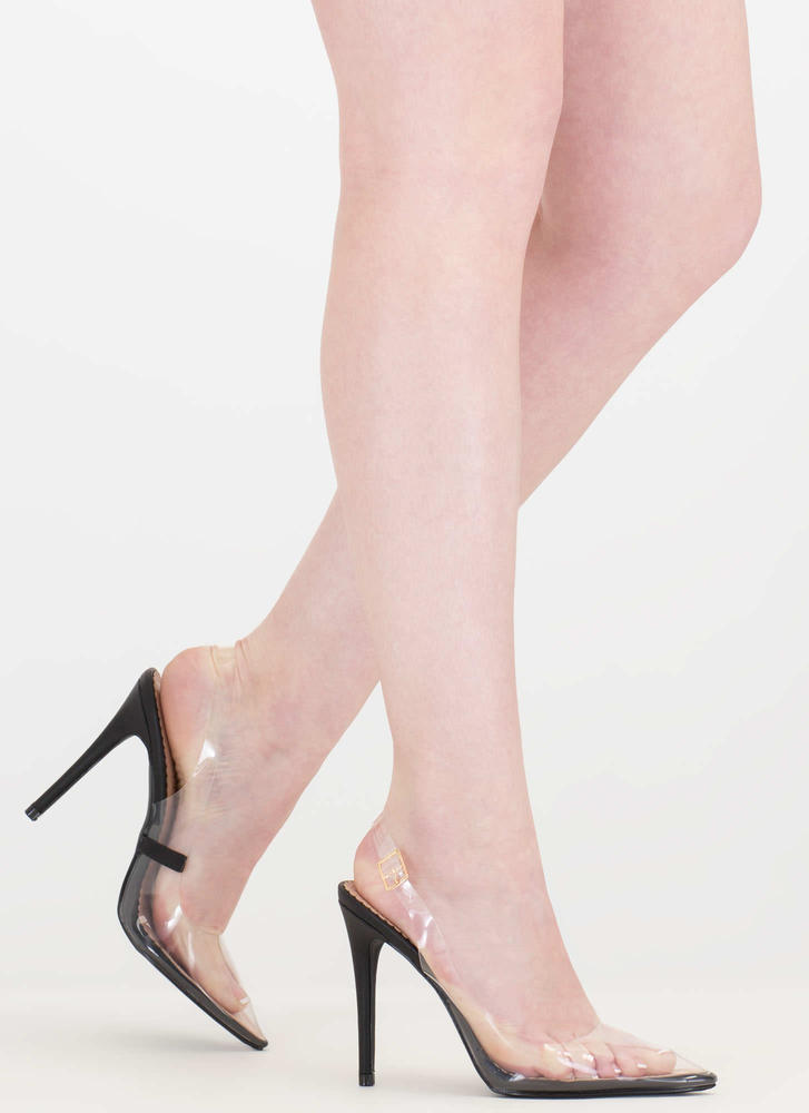 Clear To The Point Slingback Heels BLACK