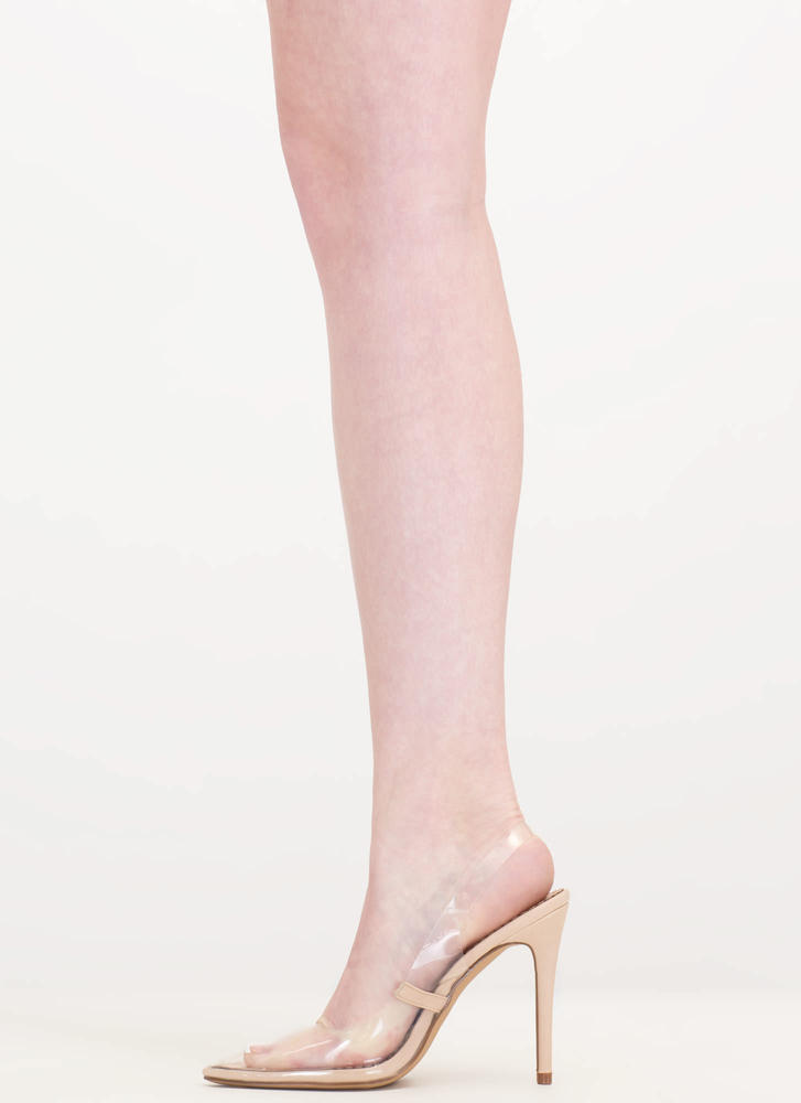 Clear To The Point Slingback Heels NUDE