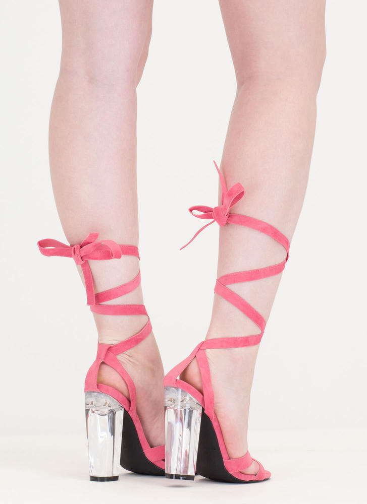 Center Stage Clear Chunky Lace-Up Heels CORAL (Final Sale)