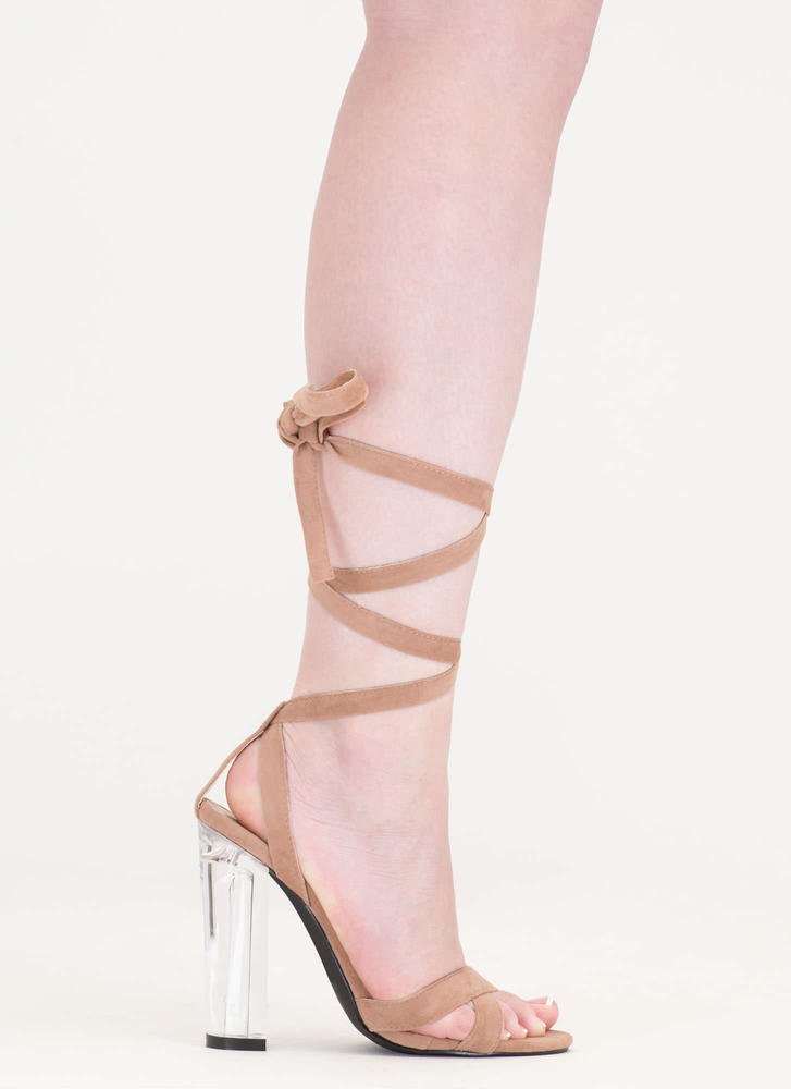 Center Stage Clear Chunky Lace-Up Heels TAUPE