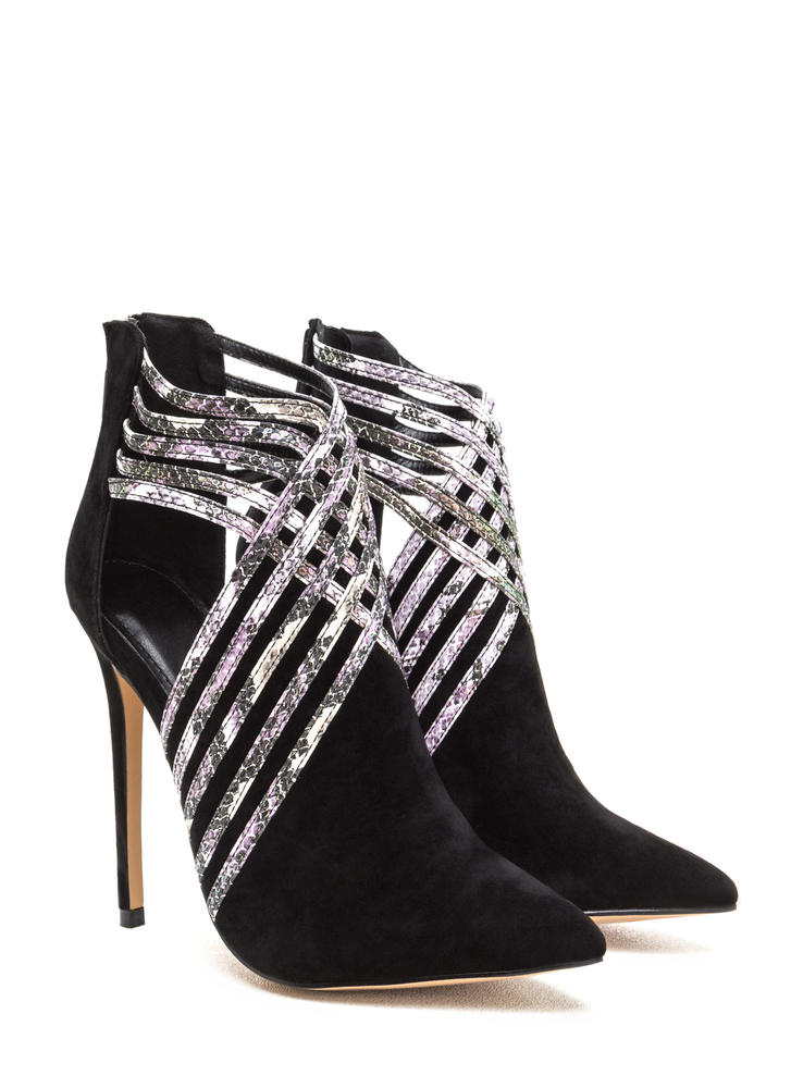 Strappy Hour Scaled Caged Heels BLACK