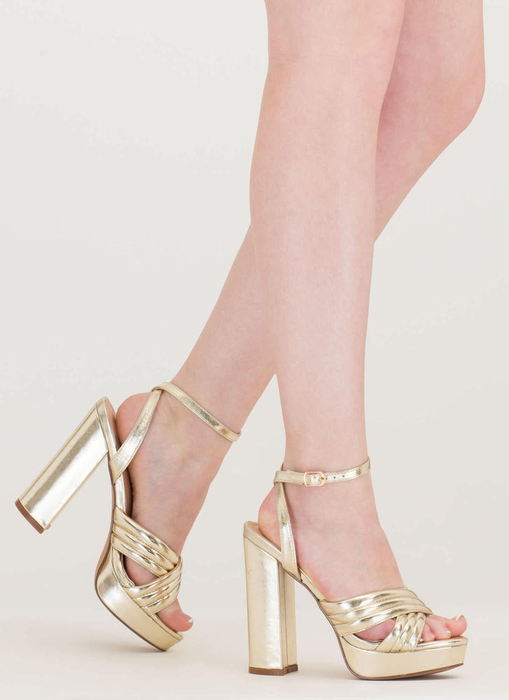 Learn My Lines Metallic Chunky Heels GOLD - GoJane.com