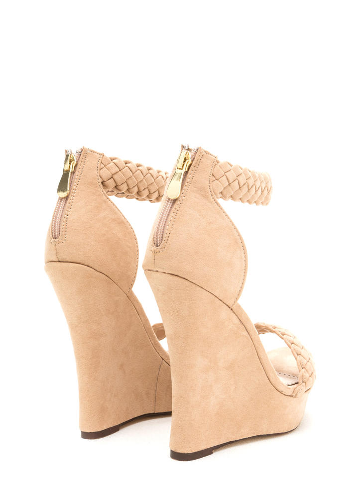 Simple Pleasures Braided Platform Wedges NUDE