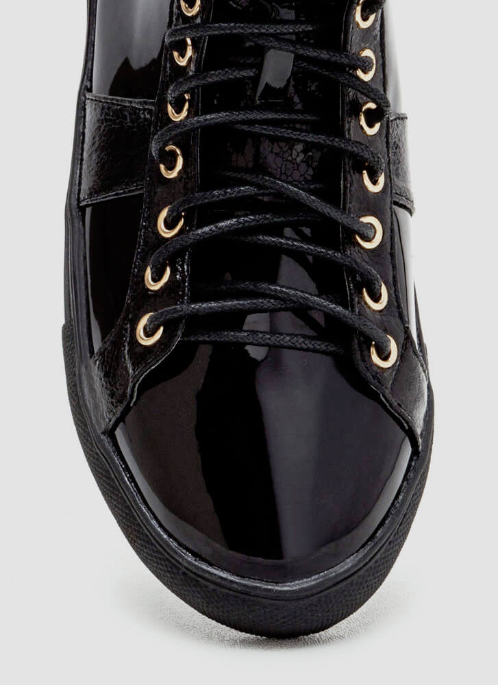 Easy Stroll Faux Patent Sneakers BLACK