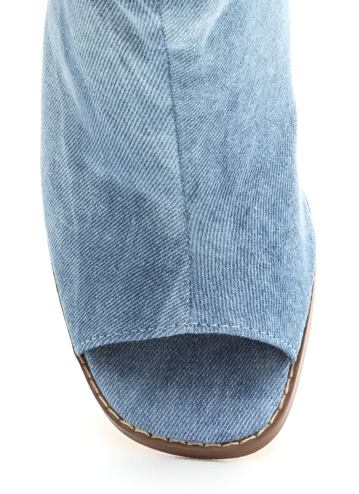 Heel Me Slouchy Cut-Out Denim Booties DENIM (Final Sale)