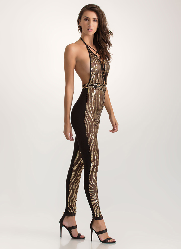 Do The Wave Sheer Sequin Jumpsuit GOLD