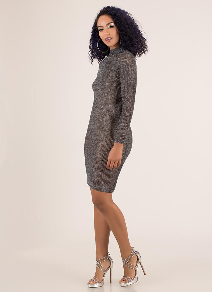Chic Armor Knit Metallic Midi Dress BLACK (You Saved $32)